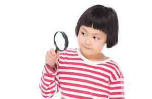自由研究を虫眼鏡で調べる